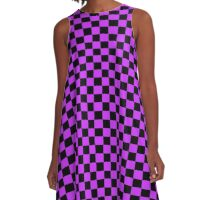 Checkered Purple and Black Check A-Line Dress