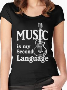 Music is my second language guitar white text Women's Fitted Scoop T-Shirt