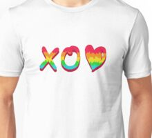 XO and loveheart in rainbow Unisex T-Shirt