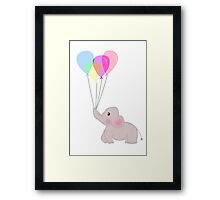 Baby Elephant With Balloons Framed Print