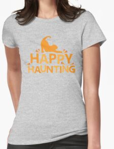 Happy Haunting with cat and candy corn Womens Fitted T-Shirt