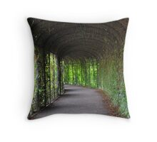 romantic garden walkway forming a tunnel of tree Throw Pillow