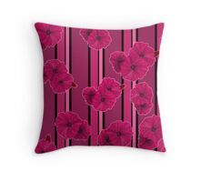 Crimson flowers on a striped background  Throw Pillow