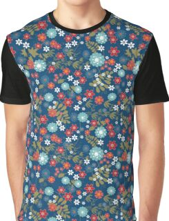 Floral pattern on a blue background. Graphic T-Shirt
