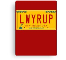 License Plate - LWYRUP Canvas Print