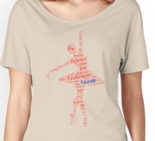 Ballet Typography : Red - Blue Women's Relaxed Fit T-Shirt