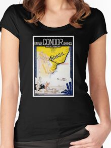 Brazil Rio Vintage Travel Poster Restored Women's Fitted Scoop T-Shirt