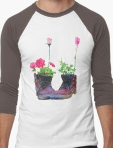 Old shoes with flowers Men's Baseball ¾ T-Shirt