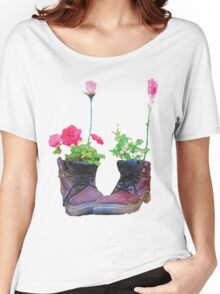 Old shoes with flowers Women's Relaxed Fit T-Shirt