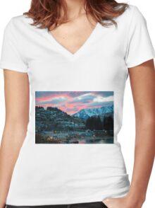 Fire Sky Women's Fitted V-Neck T-Shirt