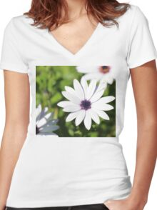 White Flower Upon Green Grass Women's Fitted V-Neck T-Shirt