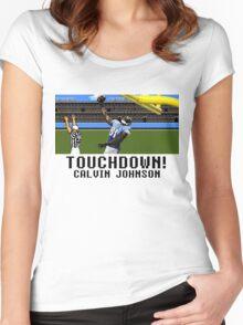 Tecmo Bowl Touchdown Calvin Johnson Women's Fitted Scoop T-Shirt
