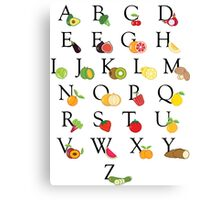 Educational Fruit and Vegetable Illustrated ABC Alphabet Canvas Print
