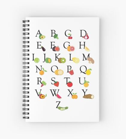Educational Fruit and Vegetable Illustrated ABC Alphabet Spiral Notebook
