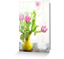 Pink Tulips In Yellow Vase Greeting Card