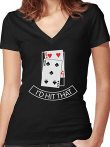 I'd Hit That Funny Poker Women's Fitted V-Neck T-Shirt