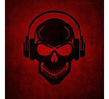 Skull with Headphones - Rave - Electro - Hardstyle Photographic Print
