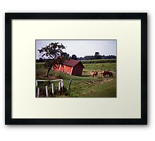 Barn with Horses Framed Print