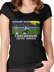 Techmo Bowl Touchdown Calvin Johnson Women's Fitted Scoop T-Shirt