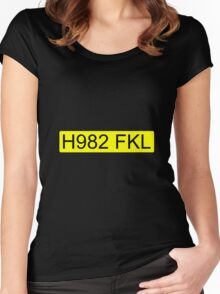 Jeremy Clarkson Falklands number plate Women's Fitted Scoop T-Shirt