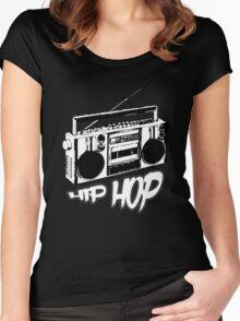 boombox hip hop rap urban graffiti breakdance dj 90s stereo retro Women's Fitted Scoop T-Shirt