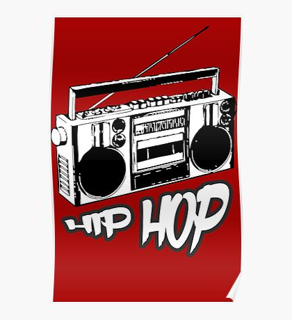 boombox hip hop rap urban graffiti breakdance dj 90s stereo retro Poster