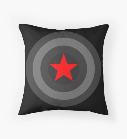 Black and White Shield With Red Star Throw Pillow