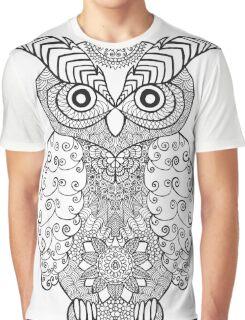 Black white hand draw ornamental owl Graphic T-Shirt