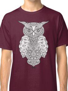 Black white hand draw ornamental owl Classic T-Shirt