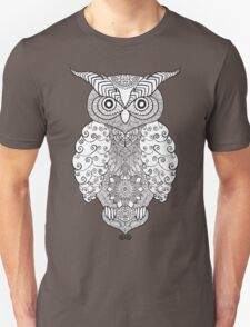 Black white hand draw ornamental owl Unisex T-Shirt