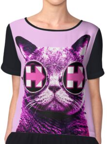 Pink Hipster Cat 4 Hillary Chiffon Top