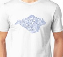Hand drawn Isle of Wight map - sea blue Unisex T-Shirt