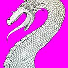 White Dragon on Pink by slshuttleworth