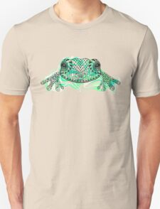 Zentangle stylized frog with abstract  colorful grunge background Unisex T-Shirt