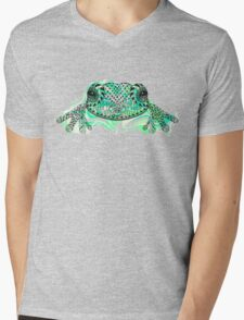 Zentangle stylized frog with abstract  colorful grunge background Mens V-Neck T-Shirt