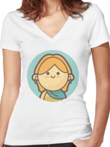 Mini Characters - Blonde Girl Women's Fitted V-Neck T-Shirt