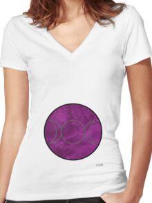 purple velvet triple moon Women's Fitted V-Neck T-Shirt