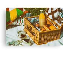 Picnic Basket With Fruits, Orange Juice, Croissants And No Bake Blueberry And Strawberry Jam Cheesecake Canvas Print