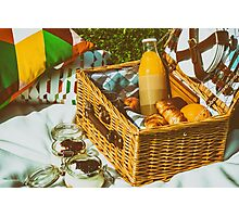 Picnic Basket With Fruits, Orange Juice, Croissants And No Bake Blueberry And Strawberry Jam Cheesecake Photographic Print