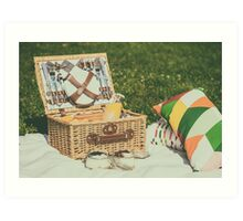 Picnic Basket With Fruits, Orange Juice, Croissants And No Bake Blueberry And Strawberry Jam Cheesecake Art Print
