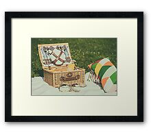 Picnic Basket With Fruits, Orange Juice, Croissants And No Bake Blueberry And Strawberry Jam Cheesecake Framed Print