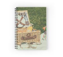 Picnic Basket With Fruits, Orange Juice, Croissants And No Bake Blueberry And Strawberry Jam Cheesecake Spiral Notebook