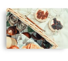 Picnic Basket With Fruits, Orange Juice, Croissants And No Bake Blueberry And Strawberry Jam Cheesecake Metal Print