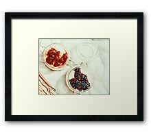 Jars Of No Bake Cheesecake With Blueberry And Strawberry Jam Framed Print
