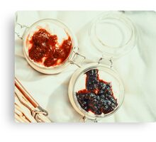 Jars Of No Bake Cheesecake With Blueberry And Strawberry Jam Canvas Print