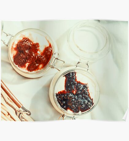 Jars Of No Bake Cheesecake With Blueberry And Strawberry Jam Poster