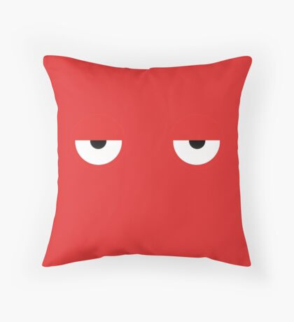 Don't Hug Me I'm Scared Red Guy Eyes Throw Pillow