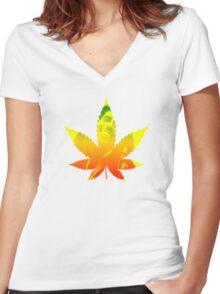 Legalize weed marijuana ganja Bob Marley shirt rastafari Women's Fitted V-Neck T-Shirt