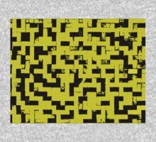 Line Art - The Bricks, tetris style, yellow and black Kids Tee