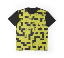 Line Art - The Bricks, tetris style, yellow and black Graphic T-Shirt
